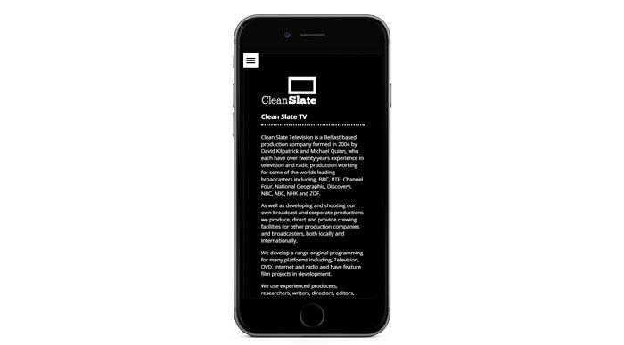 Clean Slate TV Responsive Website Design - Mobile